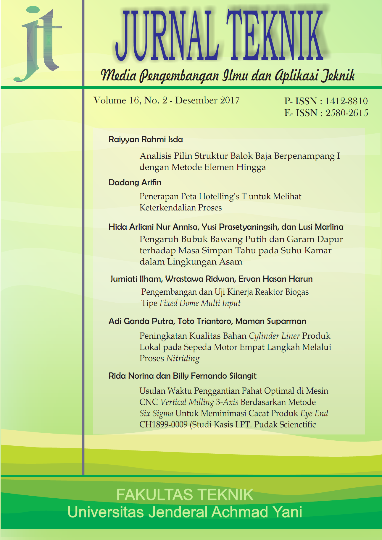 Jurnal Teknik Universitas Jenderal Achmad Yani