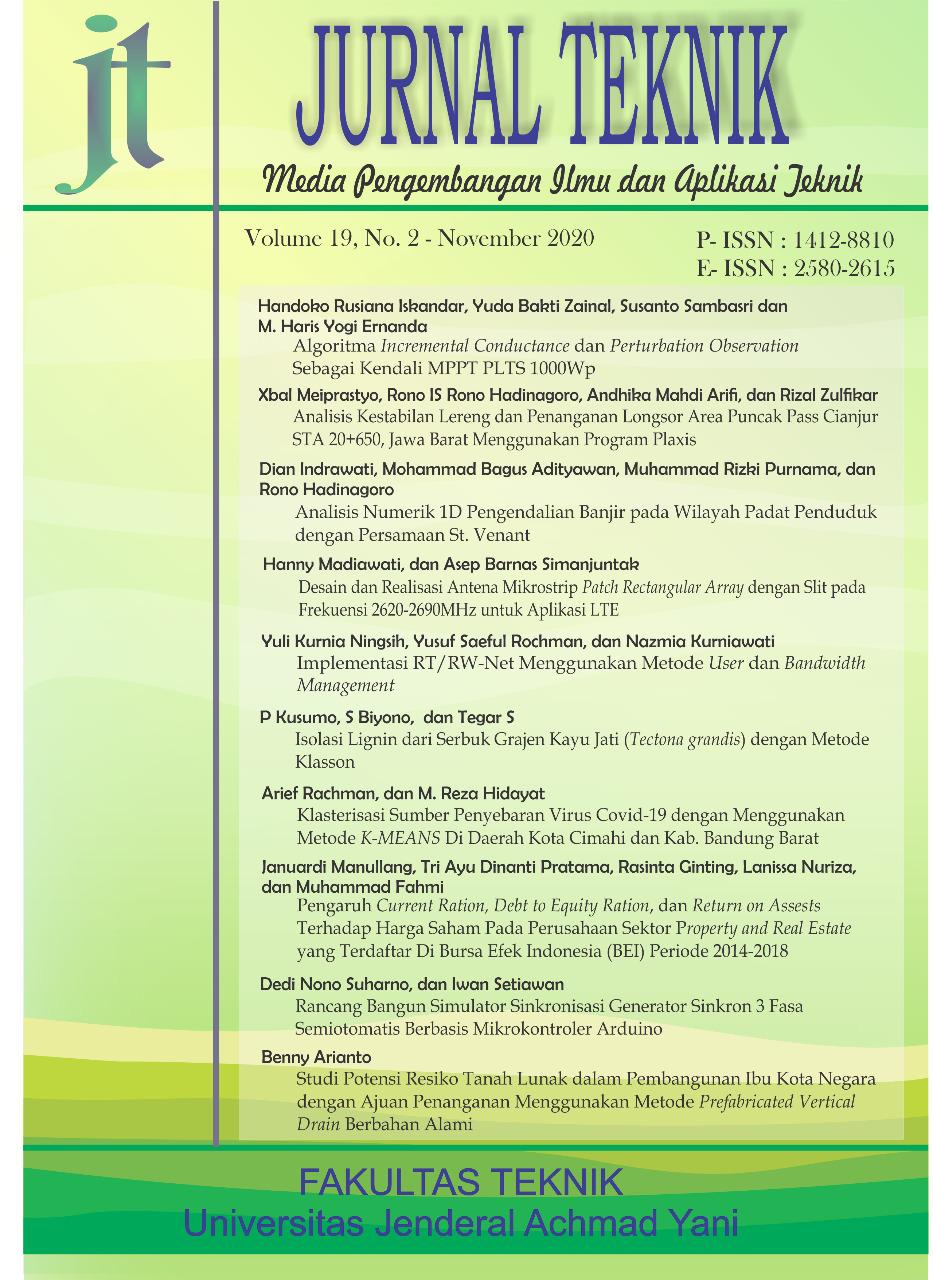 View Vol. 19 No. 02 (2020): Jurnal Teknik - Media Pengembangan Ilmu dan Aplikasi Teknik