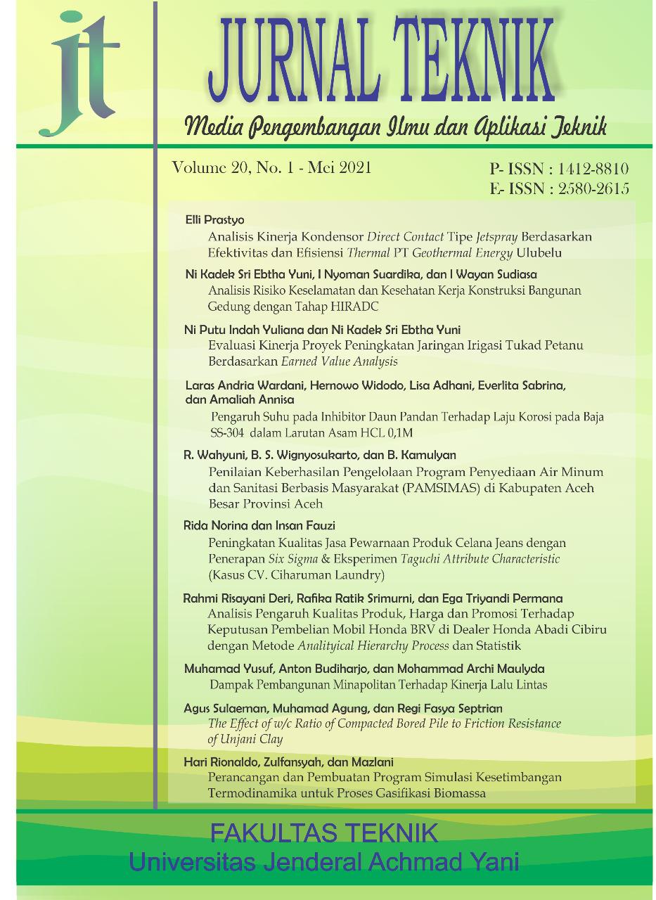 View Vol. 20 No. 1 (2021): Jurnal Teknik - Media Pengembangan Ilmu dan Aplikasi Teknik